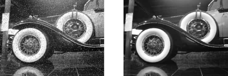 Abb. 10: Bild mit Rauschen und Bild mit Medianfilter